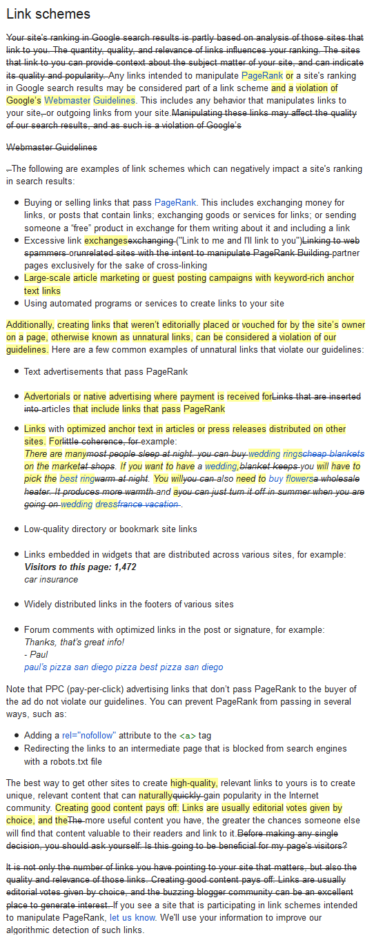 Google Webmaster Guidelines on Link Schemes